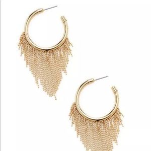Jewelry - Gold Hoop Earrings with gold metal fringe